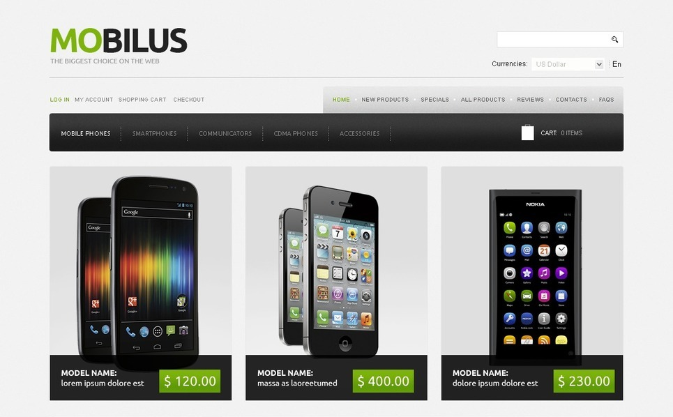 Template ZenCart  para Sites de Loja de Celulares №41809 New Screenshots BIG