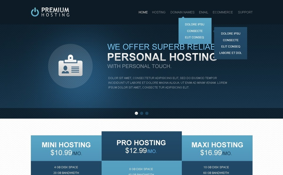 Website template over Hosting  New Screenshots BIG