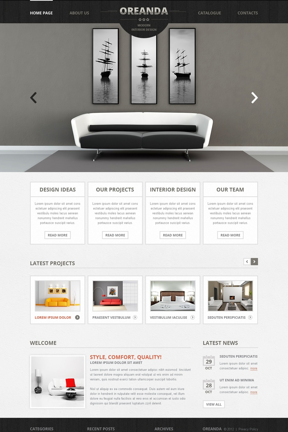 Interior Business Website Template with Wood Header Background - image