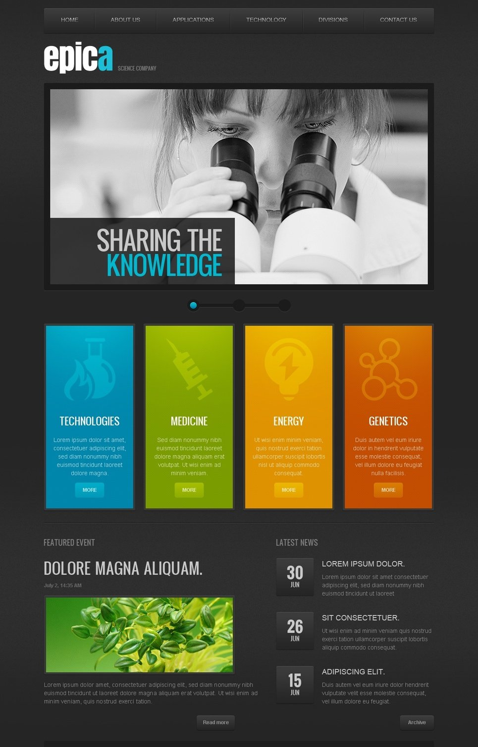 Dark Website Template with Colorful Boxes - image