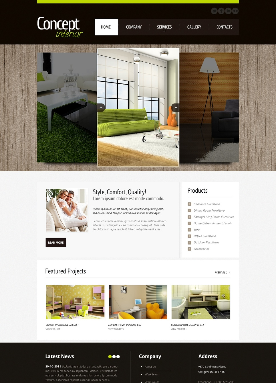 Interior Design Website Template with a Carousel Photo Gallery - image