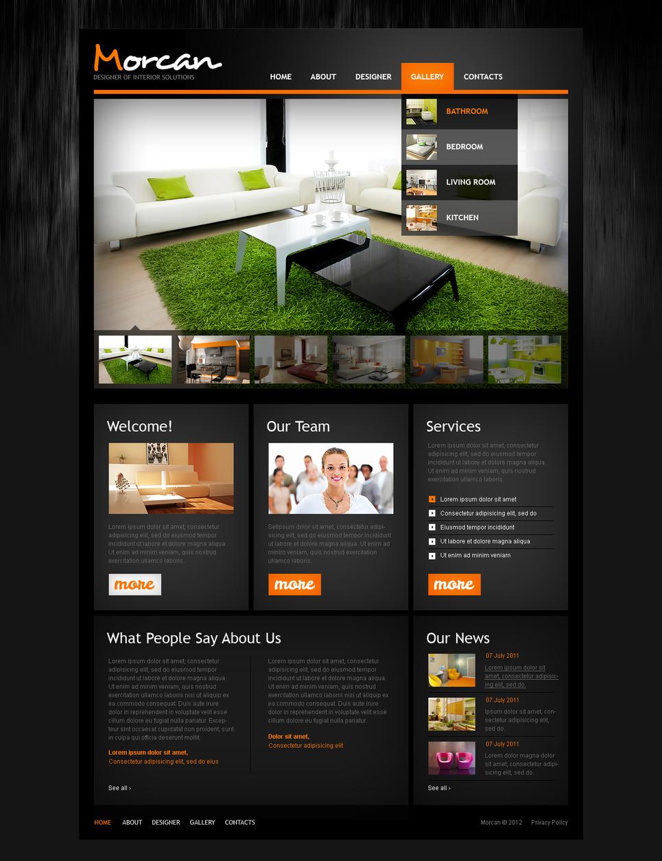 Interior & Furniture Website Template with Stylish Dark Background - image