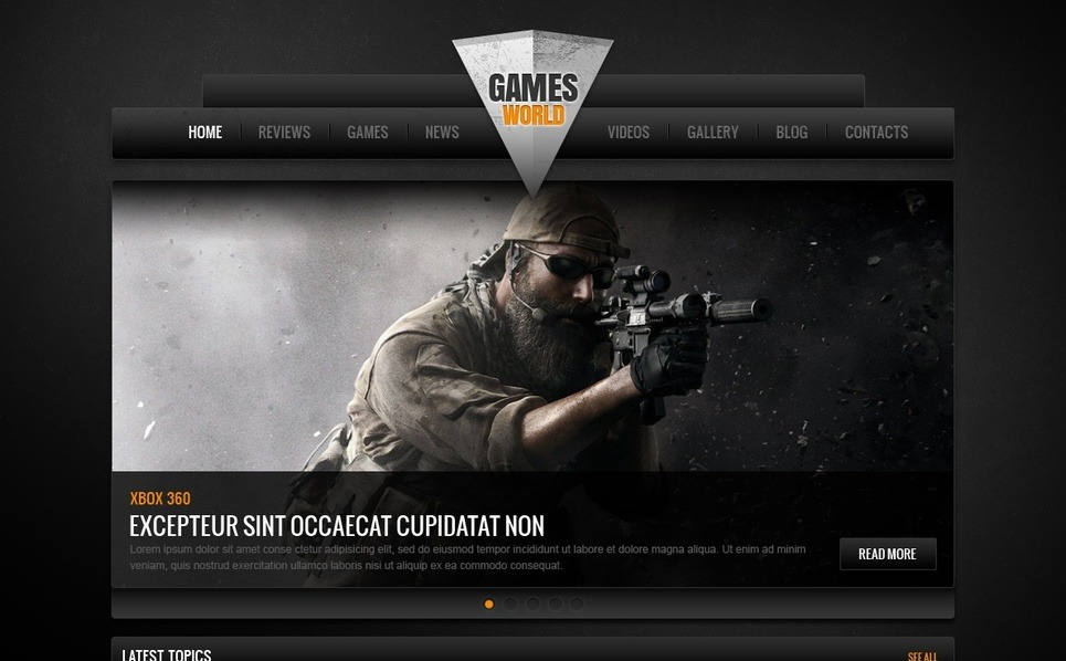 Plantilla Moto CMS HTML #41867 para Sitio de Portal de juegos New Screenshots BIG
