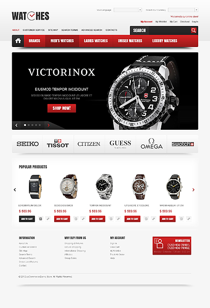 osCommerce Template 41883 Main Page Screenshot