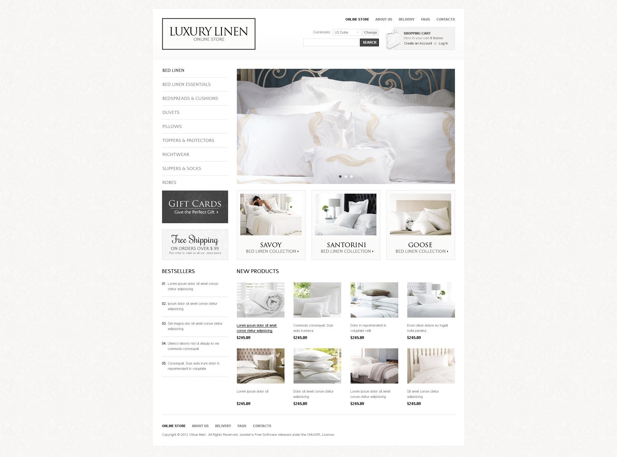 """""""Luxury Linen"""" VirtueMart模板 #41805 - 截图"""