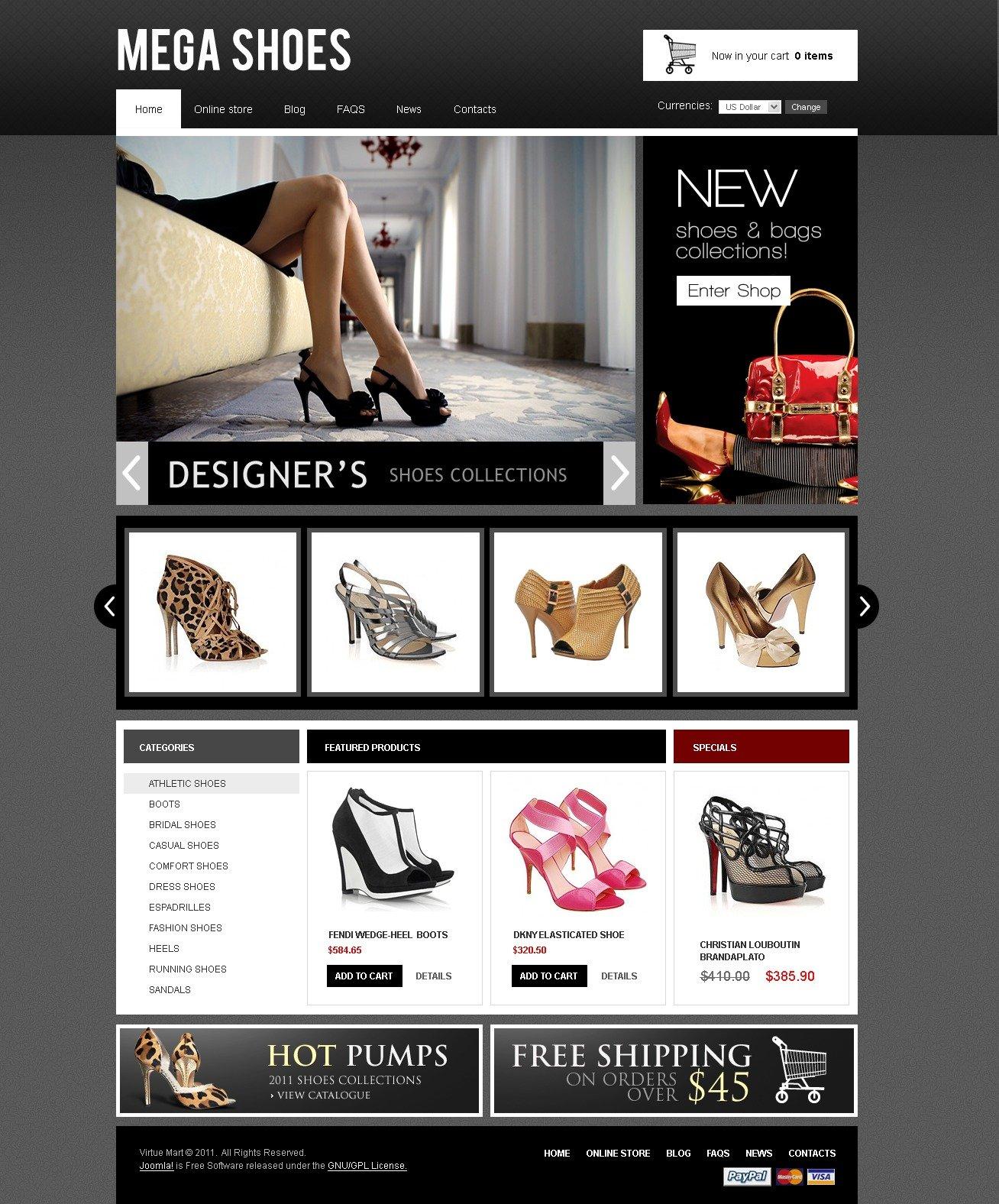 mega shoes virtuemart template #41803, Presentation templates