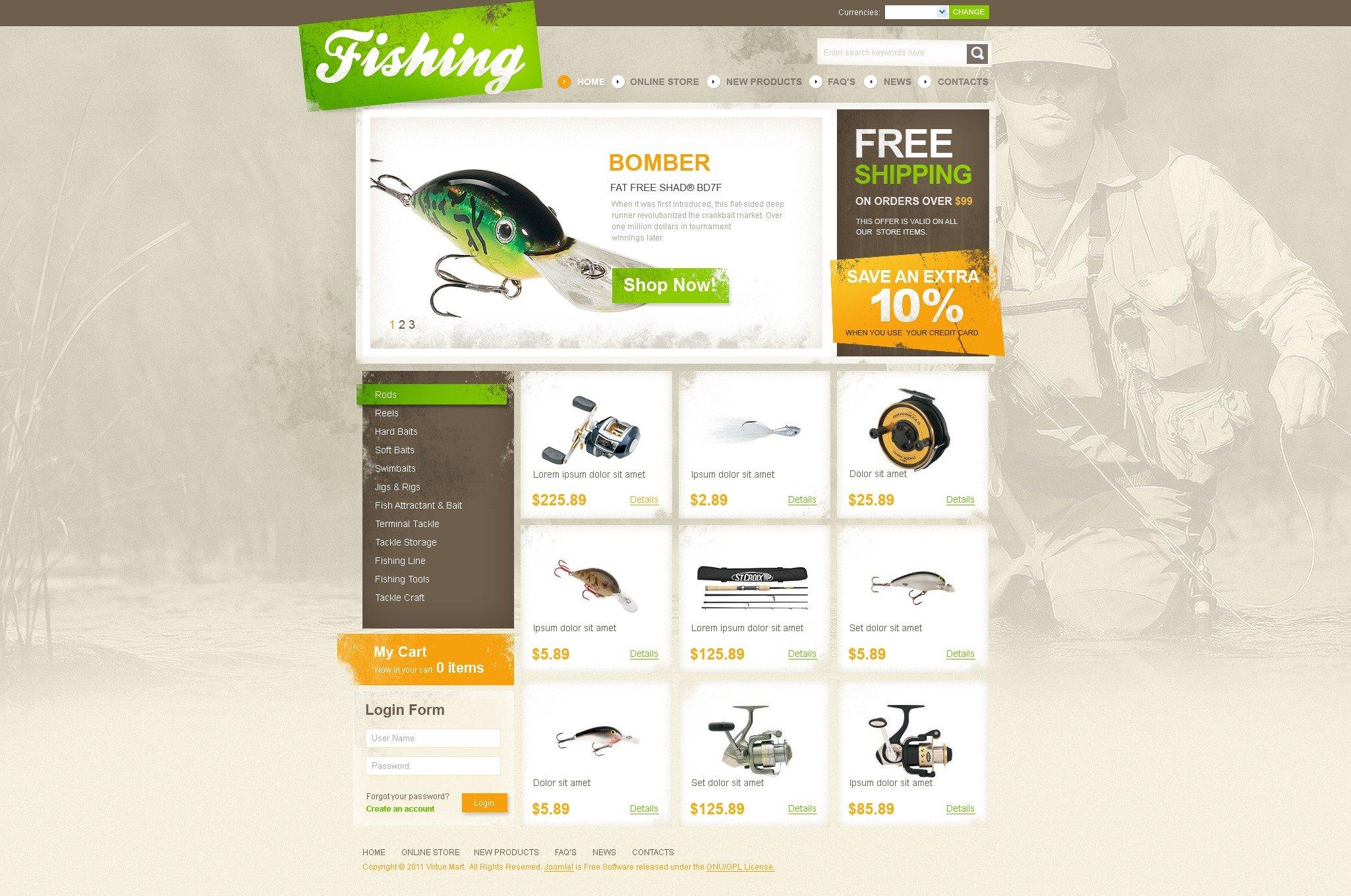 """Modello VirtueMart #41804 """"Negozio di Attrezzatura da pesca"""" - screenshot"""