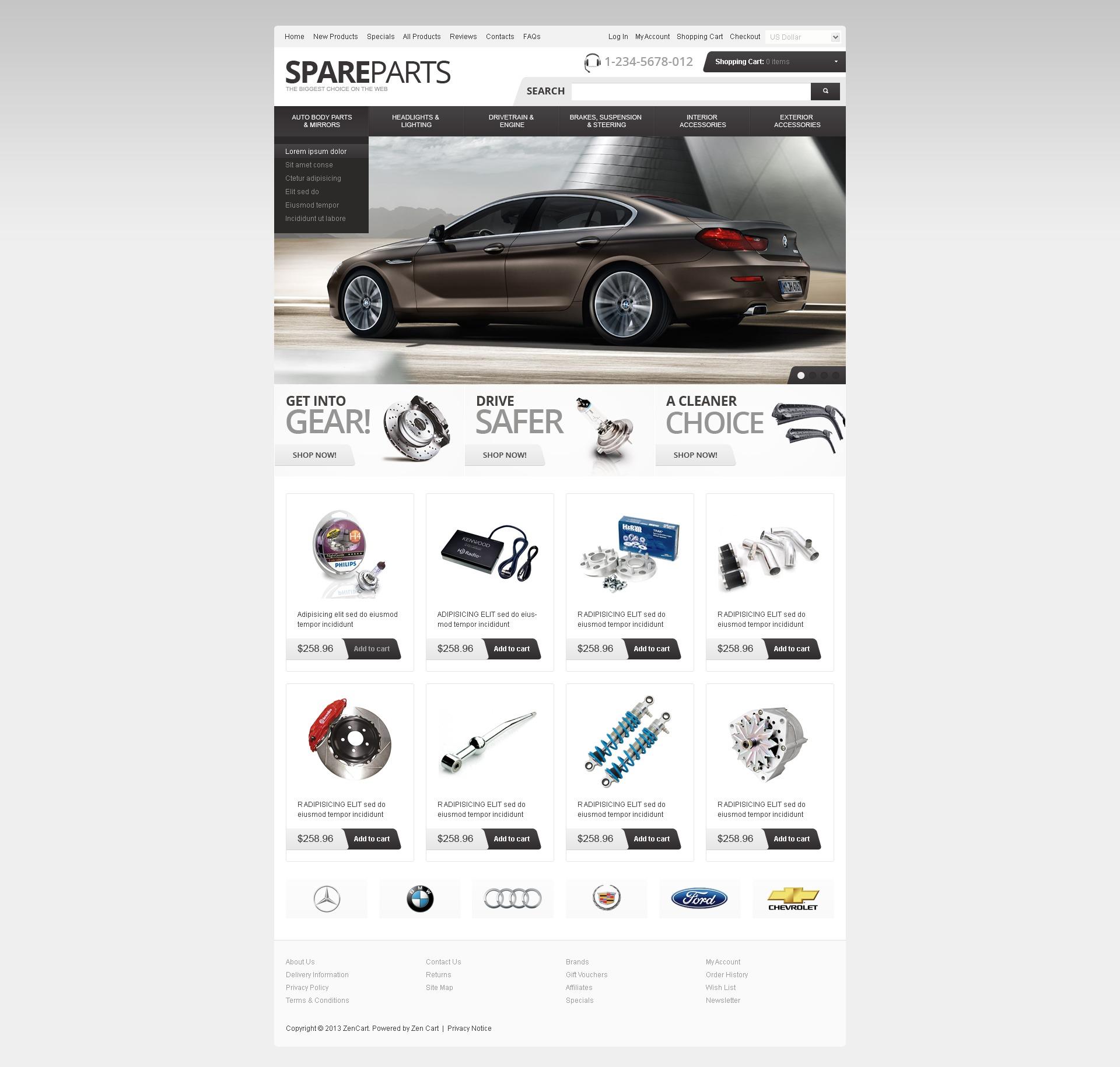 """Spare Parts"" - ZenCart шаблон №41808"