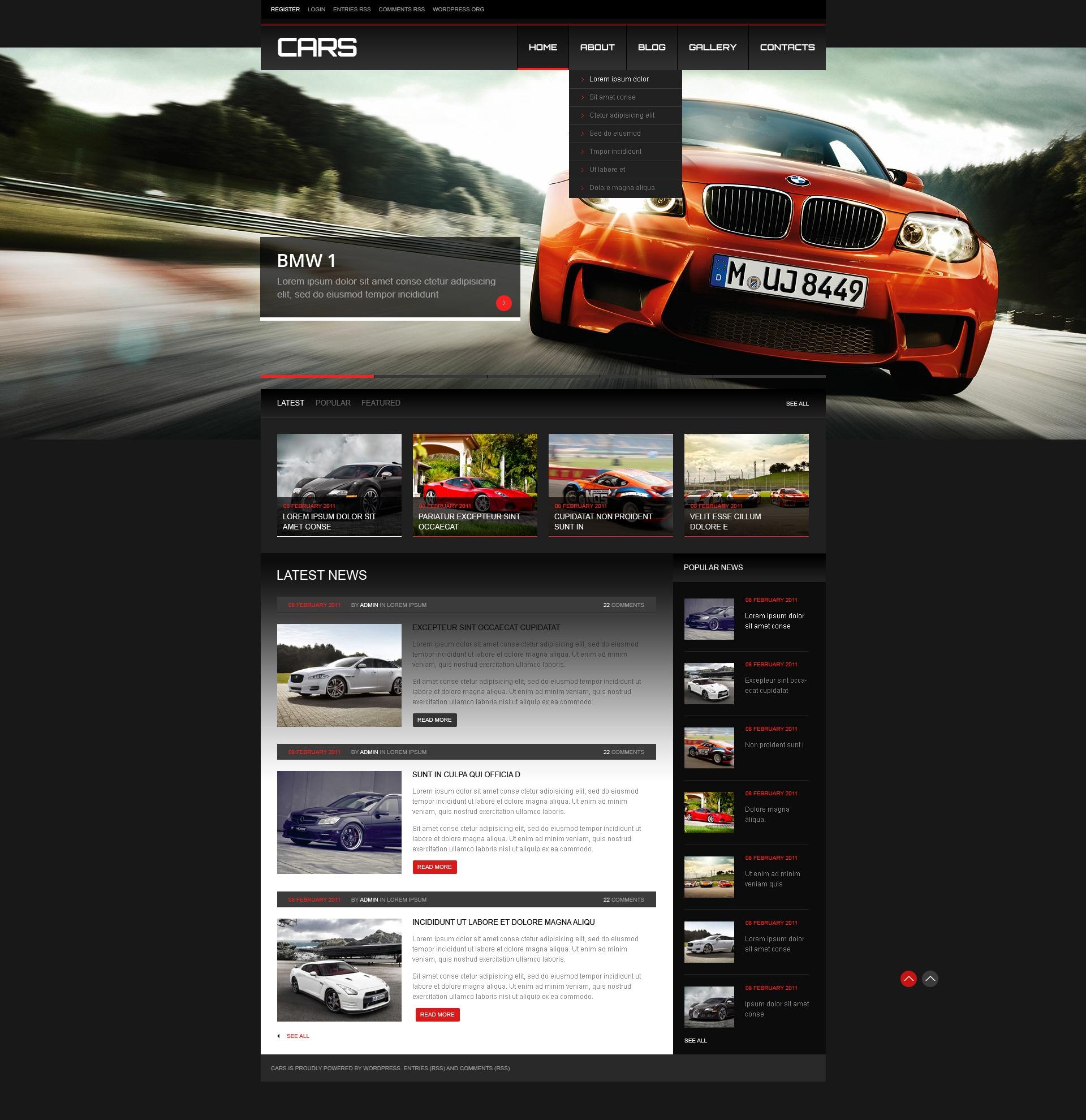 Tema De WordPress Responsive para Sitio de Coches #41821 - captura de pantalla