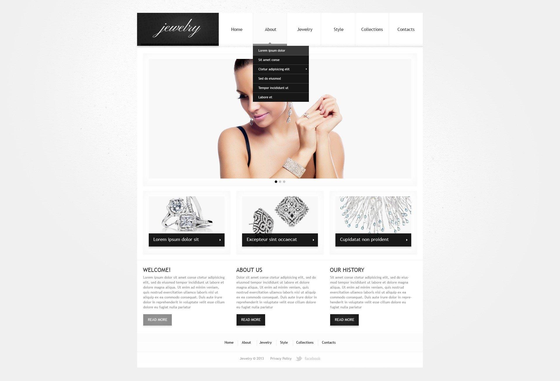 Template Web Flexível para Sites de Joias №41831 - captura de tela