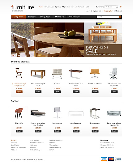 ZenCart Template 41918 Main Page Screenshot