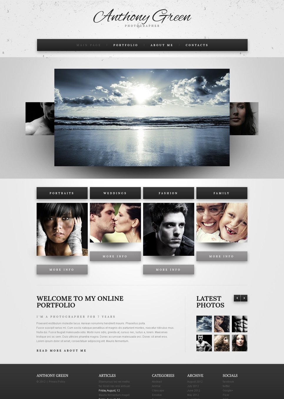 Photo Portfolio Template with a Carousel Gallery - image