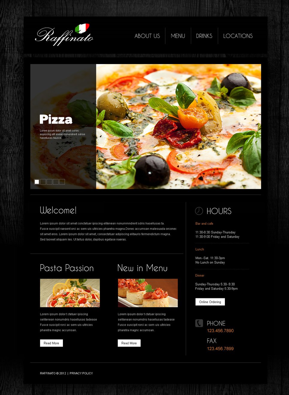 Black Wood Textured Web Template for Restaurant Businesses - image