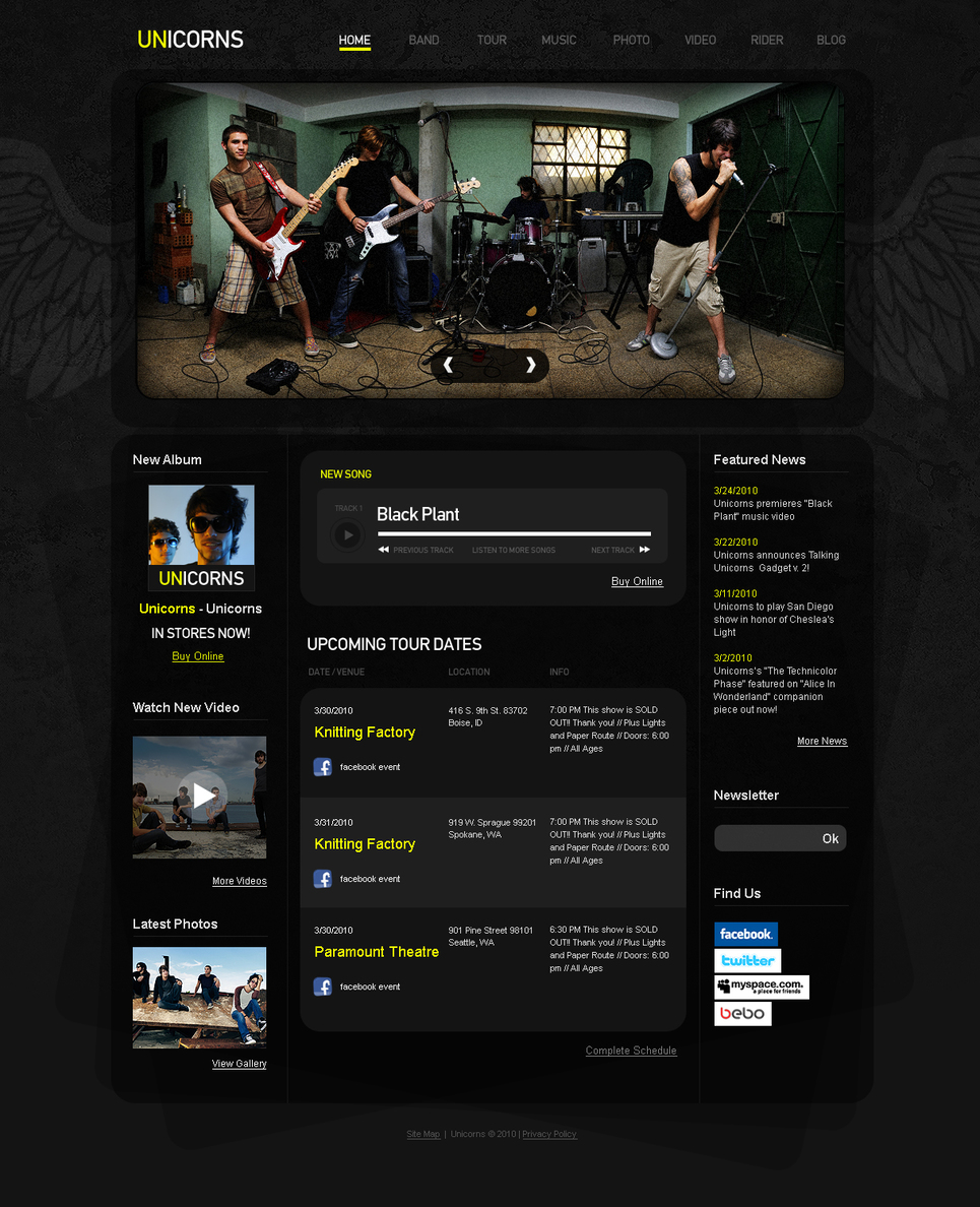 Music Band Template with Tattoo-Style Background Pattern - image