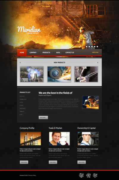 Industri Moto CMS HTML-mall