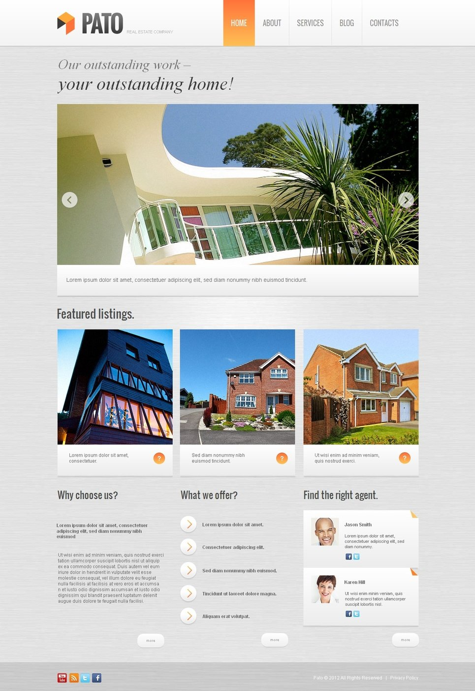 Real Estate Template with Colorful Menu and Header Image Slider - image
