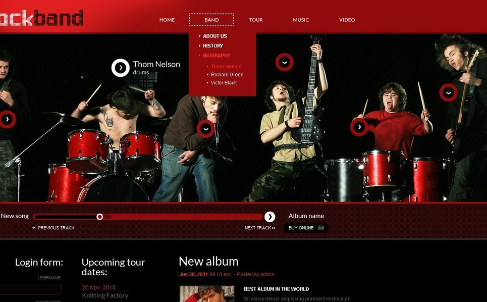 Template Siti Web  #41992 per Un Sito di Music Band New Screenshots BIG