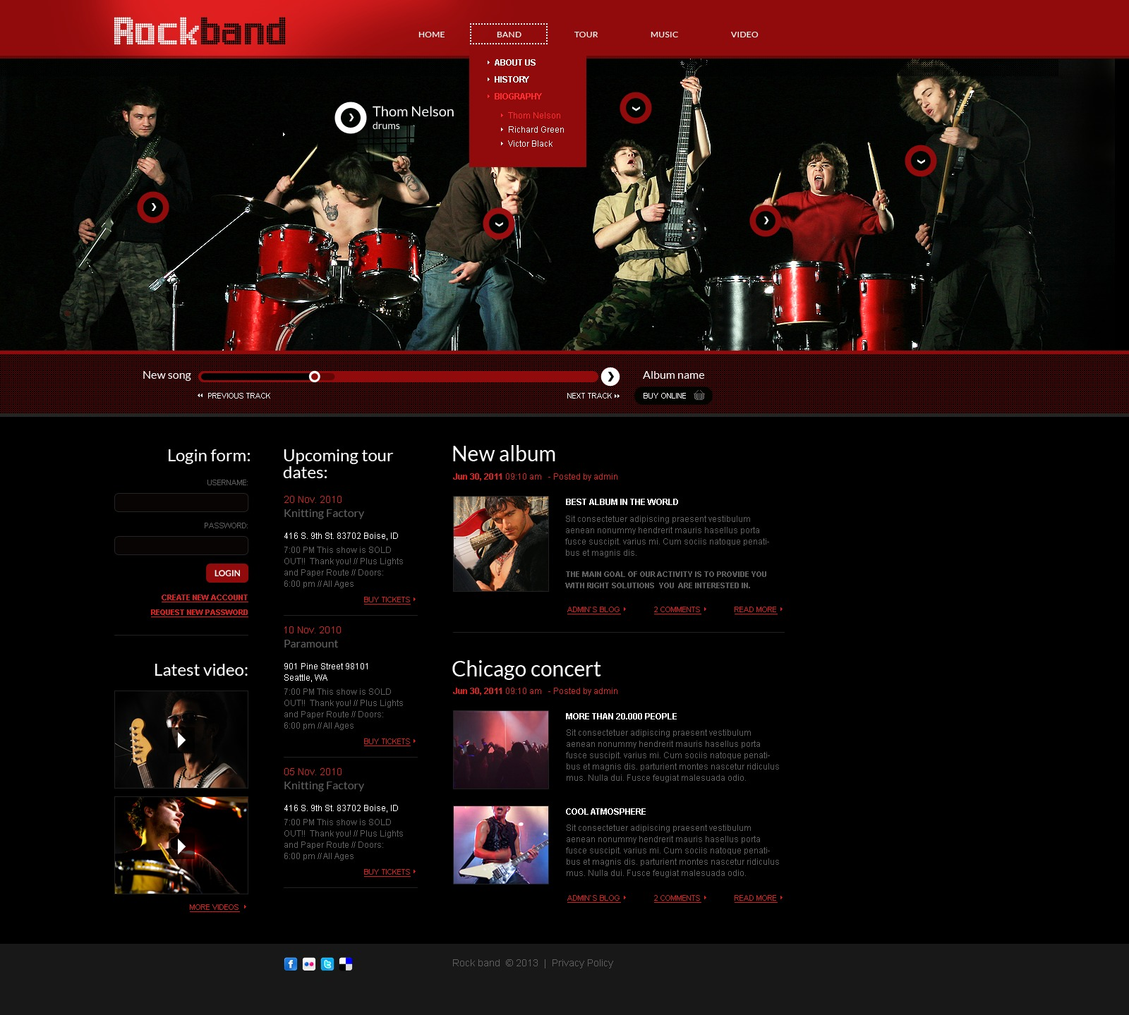 Music Band Website Template - Music website templates
