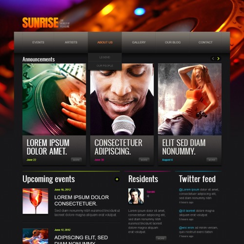 Sunrise - Drupal Night Club Template