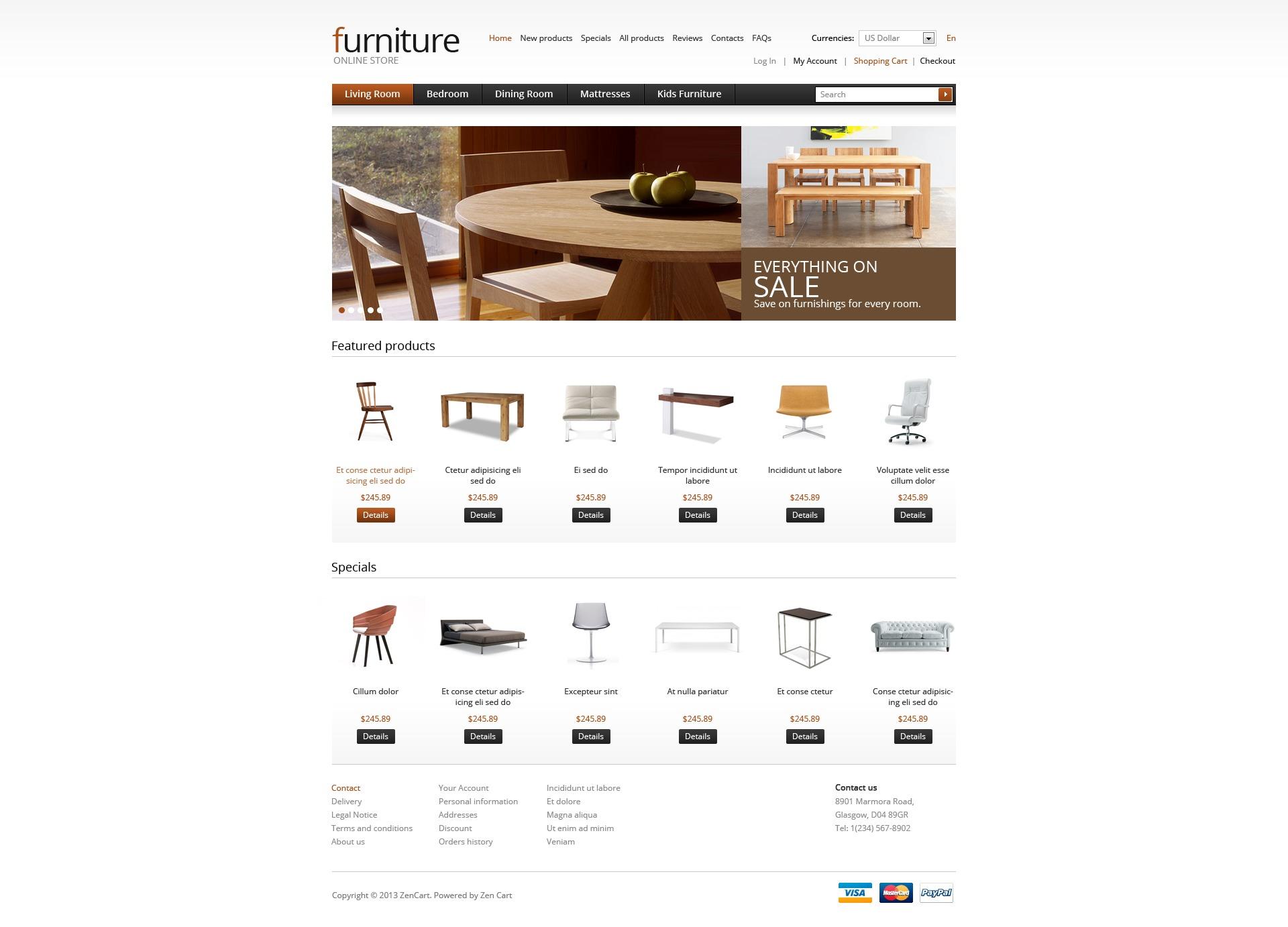 """ZenCart Vorlage namens """"Wooden Furniture"""" #41918"""