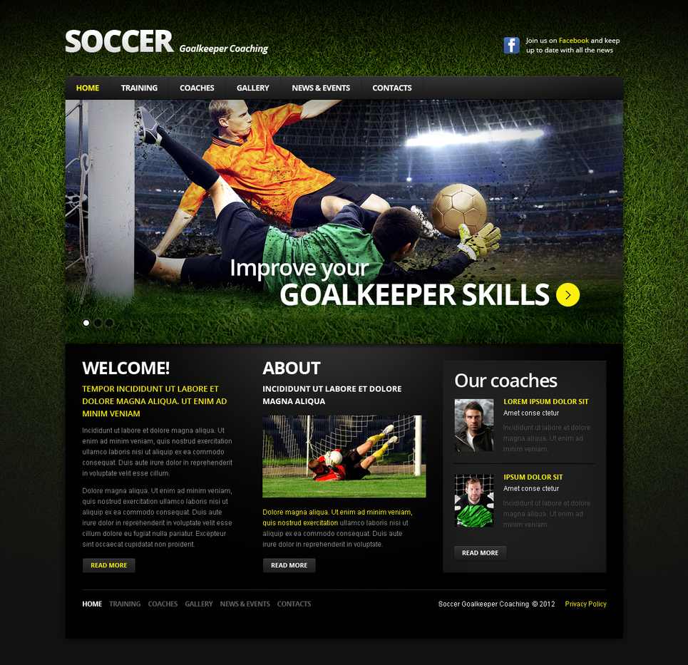 Soccer Website Template with a jQuery Slider - image