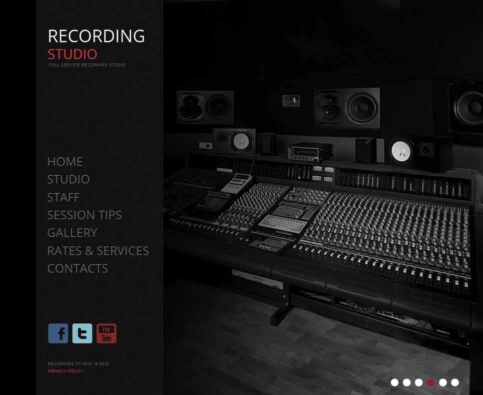 Recording studio website template with a background gallery motocms maxwellsz