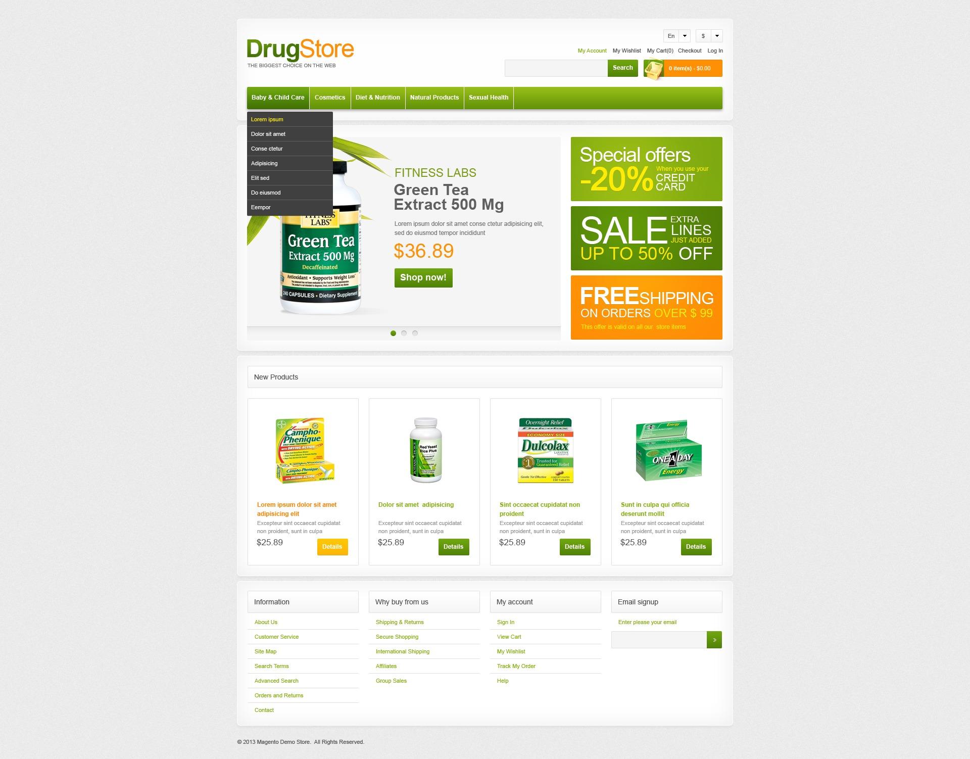 """Drug Store"" 响应式Magento模板 #42052 - 截图"