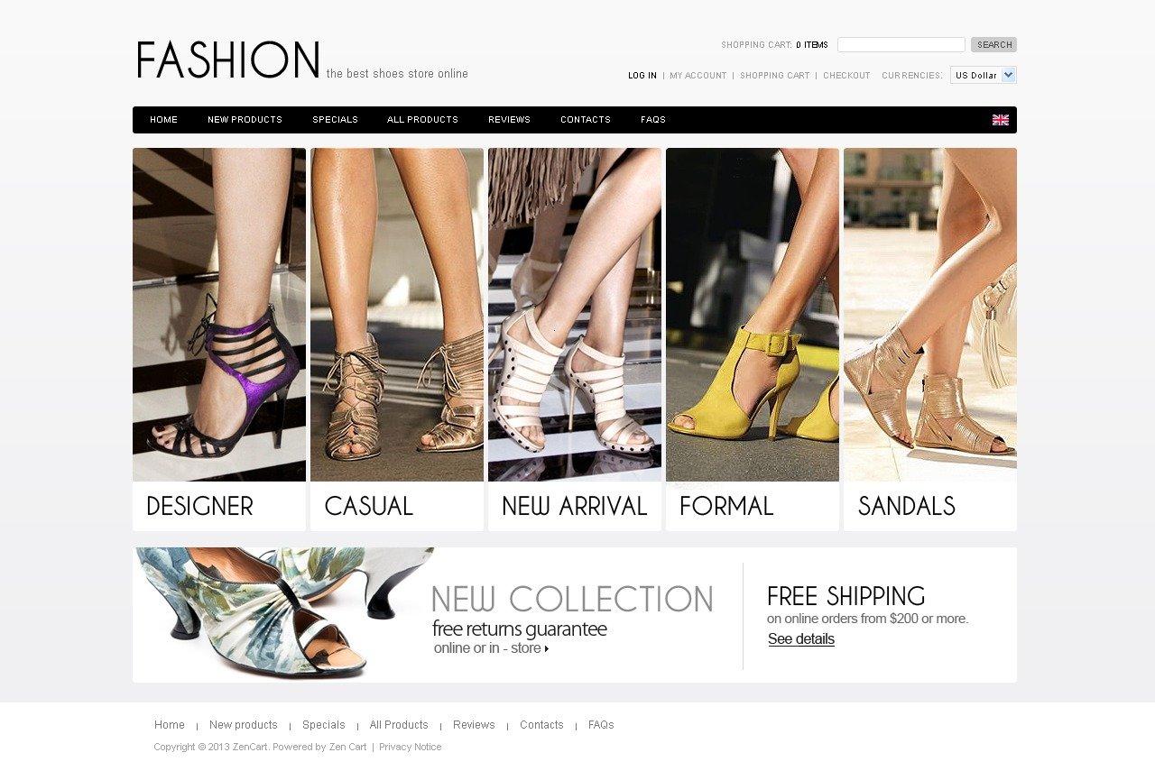 Fashion Shoes ZenCart Template - screenshot