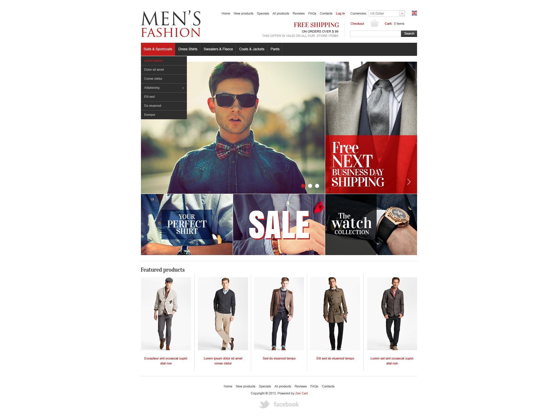 """""""Men's Clothes"""" - ZenCart шаблон №42061 - скріншот"""