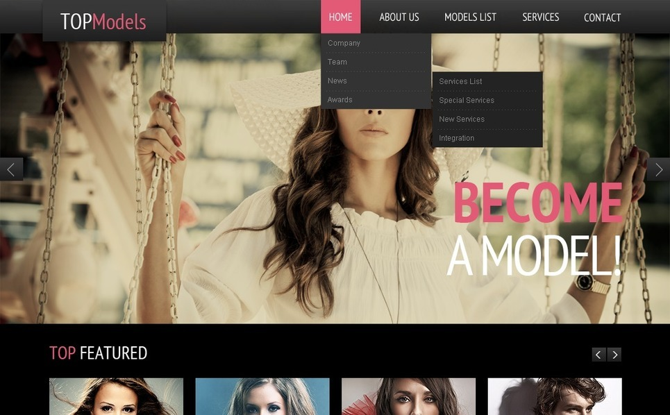 Šablona webových stránek Modelingová agentura New Screenshots BIG