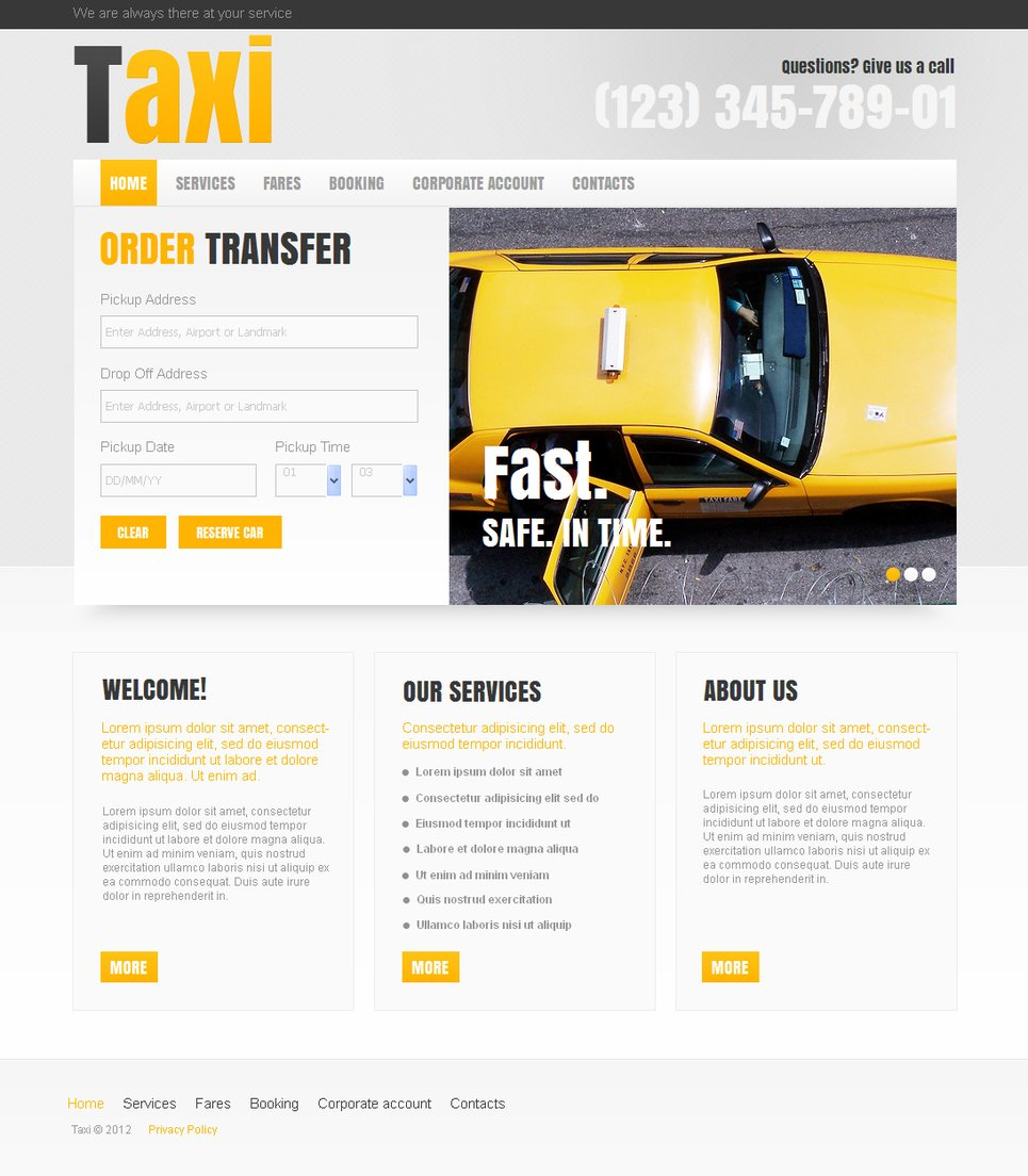 Taxi and Cab Service Template with Header Slider - image