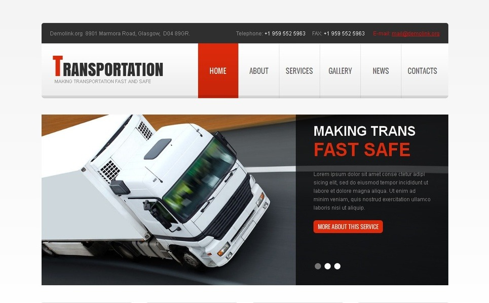 Template Moto CMS HTML  #42163 per Un Sito di Trasporti New Screenshots BIG