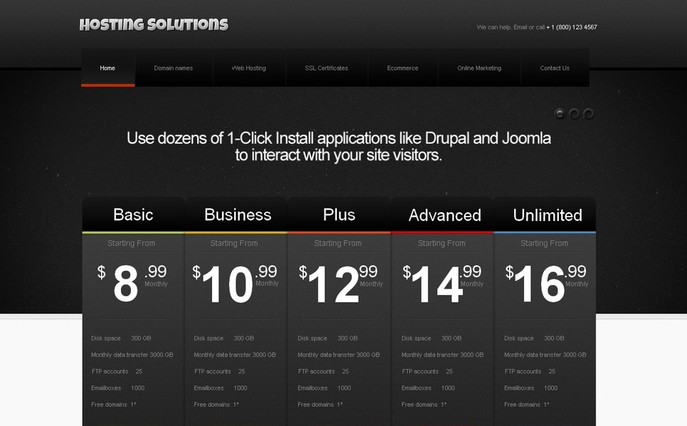 Szablon Moto CMS HTML #42166 na temat: hosting New Screenshots BIG