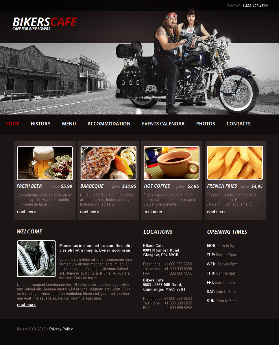 Bikers Cafe Website Template with Photo Gallery - image
