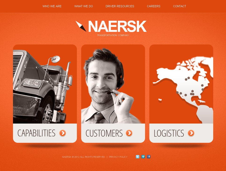 Bright Orange Logistics Website Template - image