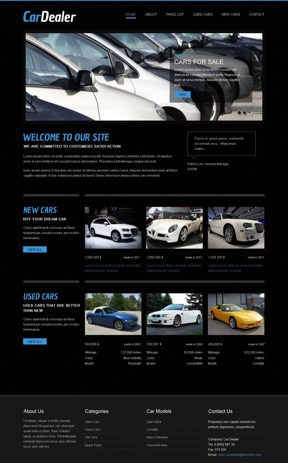 Black Colored Website Template for Car Dealers - image