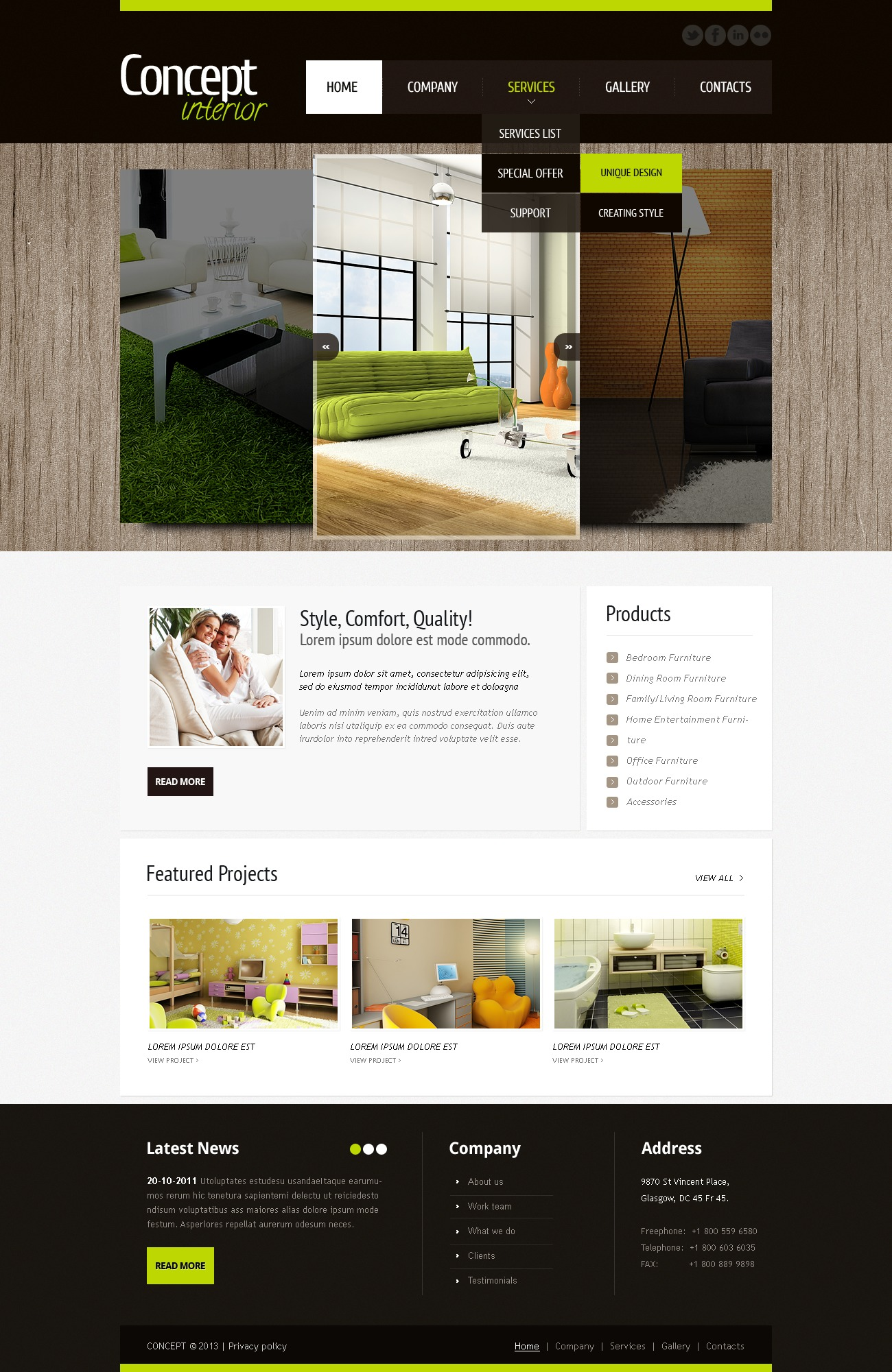 Interior Design Website Template 42182 By Wt Psd Templates