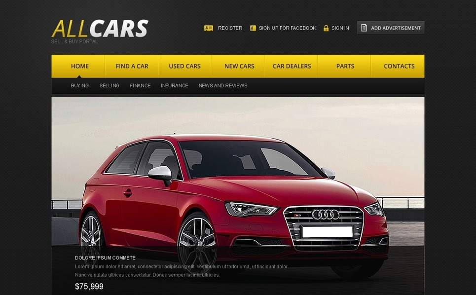 Website template over Autohandelaar New Screenshots BIG