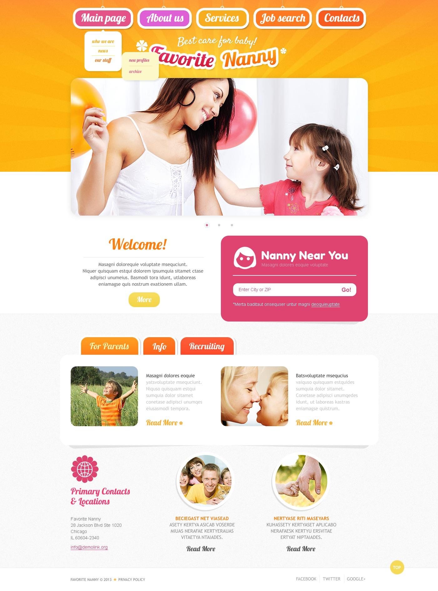 Babysitting Website Template - Wordpress Theme and Templates