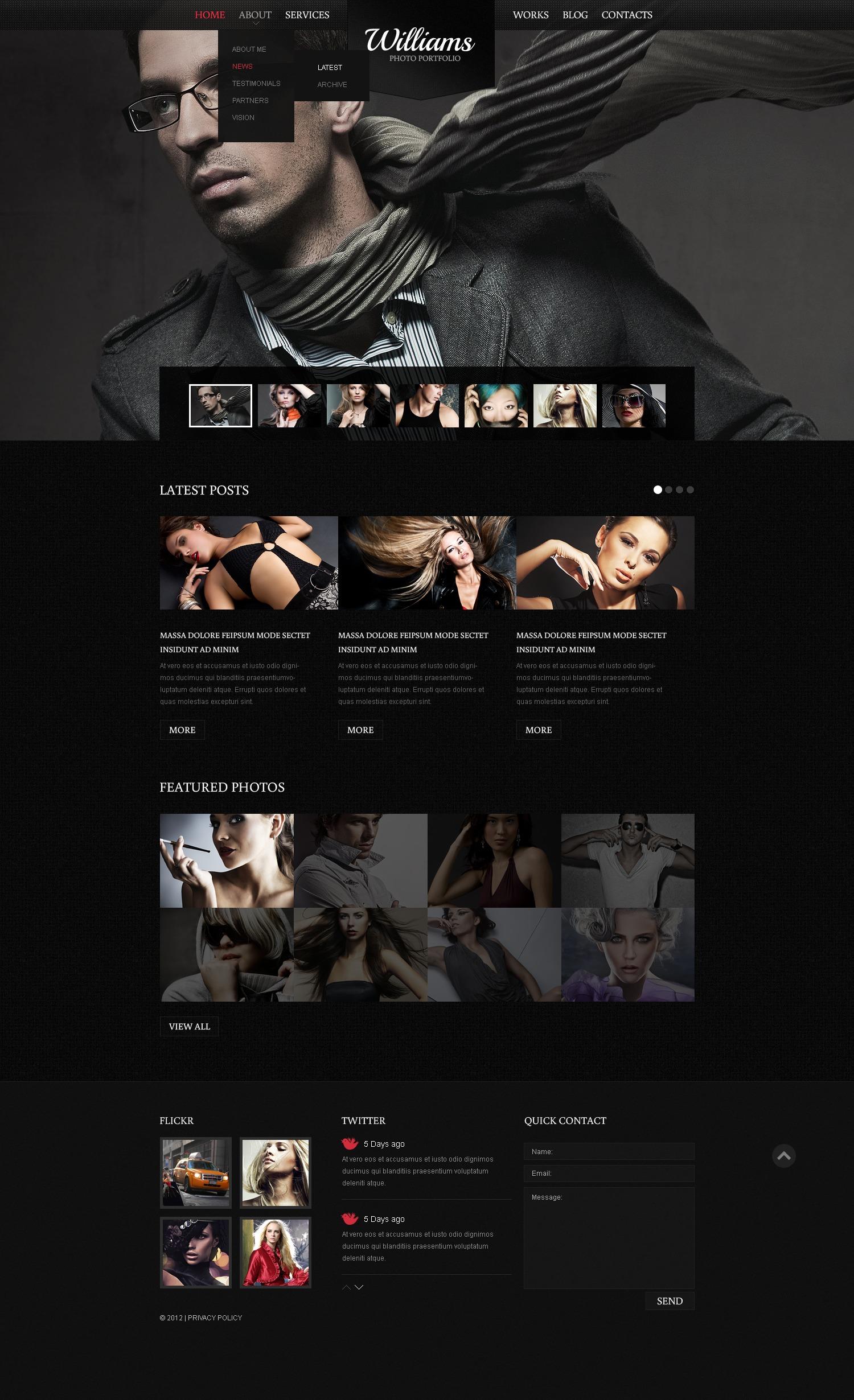 """Black Photography"" - Drupal шаблон №42156 - скріншот"