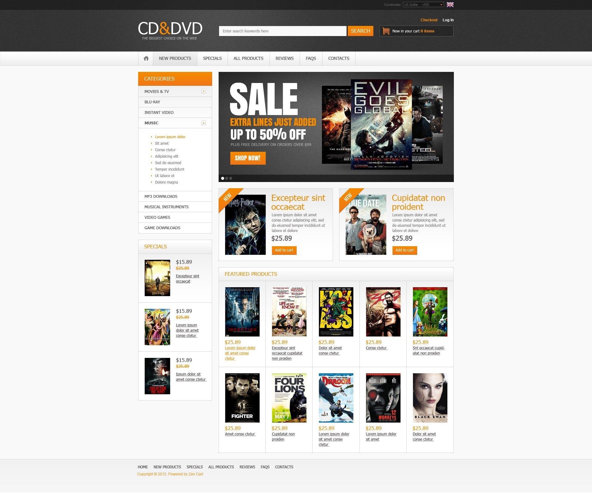 CD & DVD Store ZenCart Template