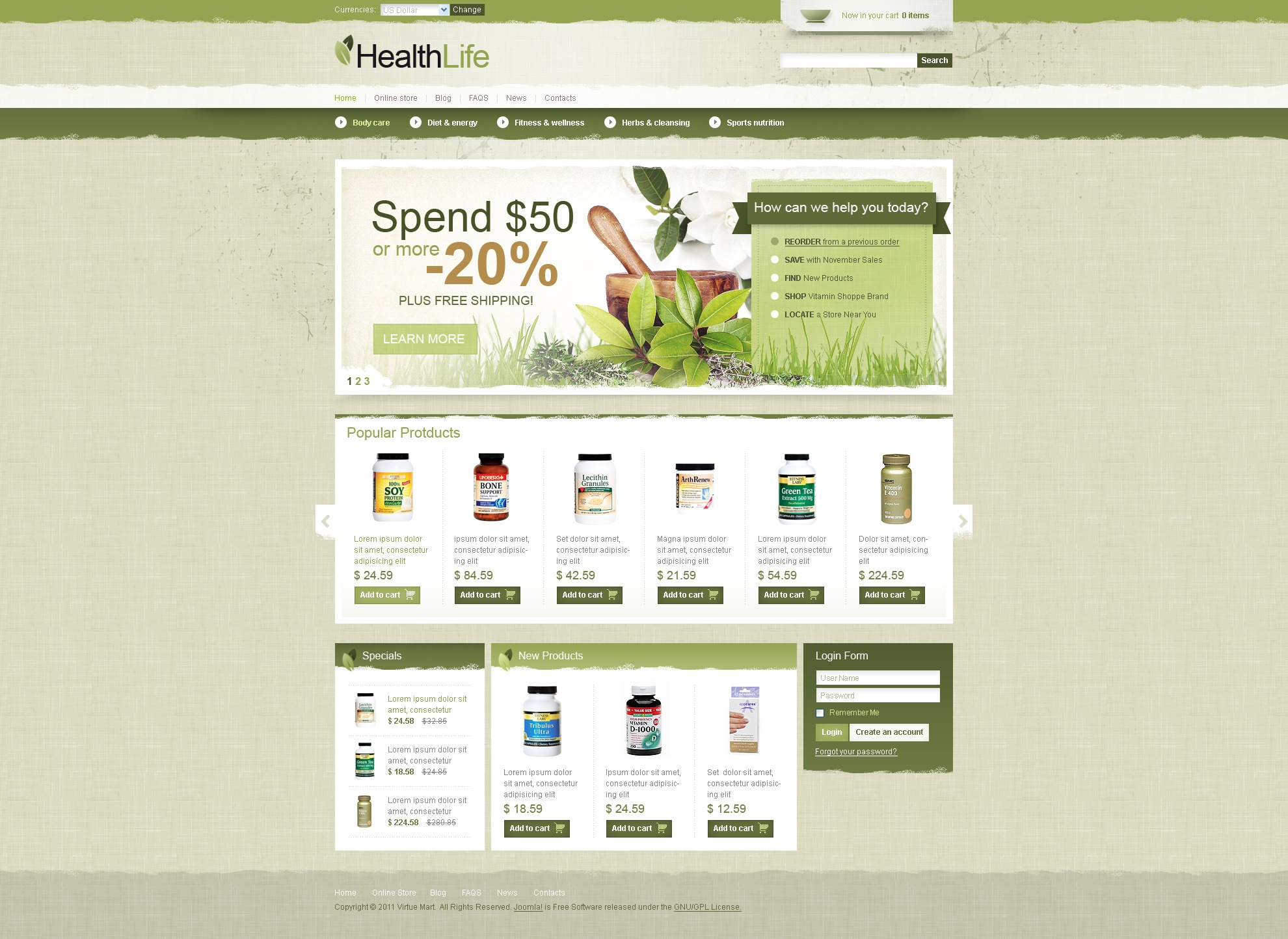 Healthy Life Template VirtueMart №42142