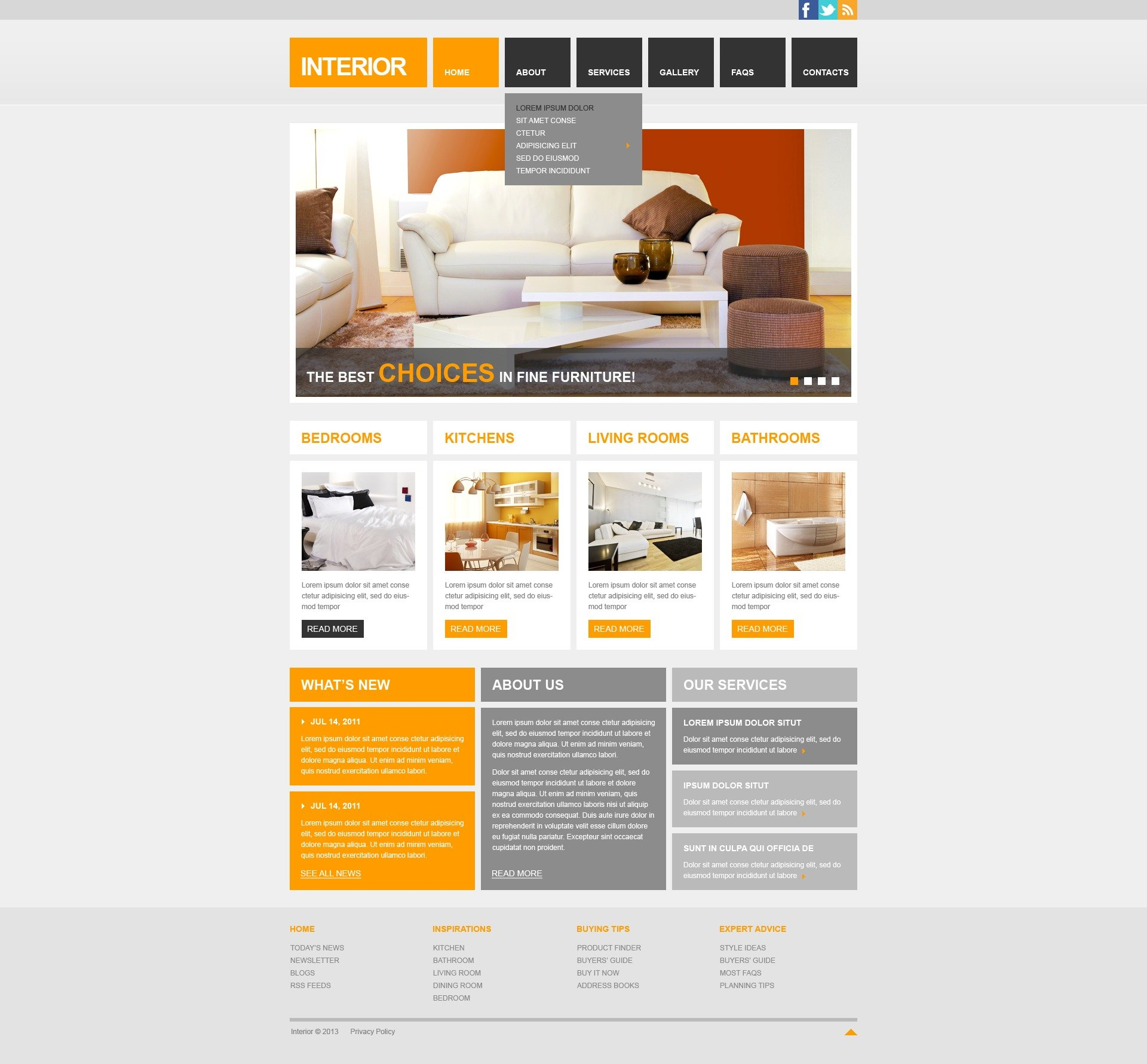 interior design responsive website template 42122. Black Bedroom Furniture Sets. Home Design Ideas