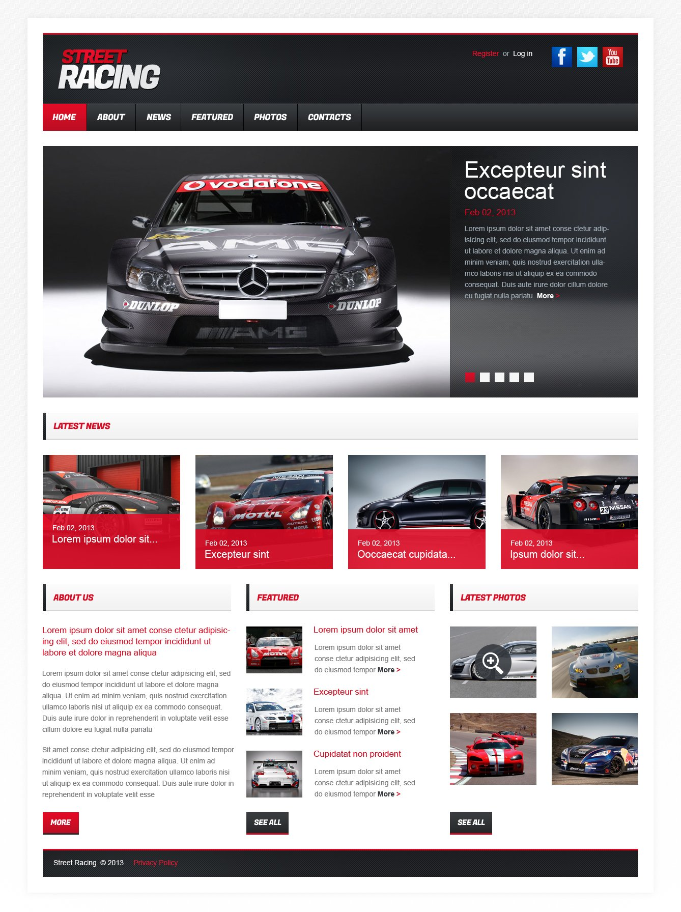 Modèle HTML de CMS de course automobile