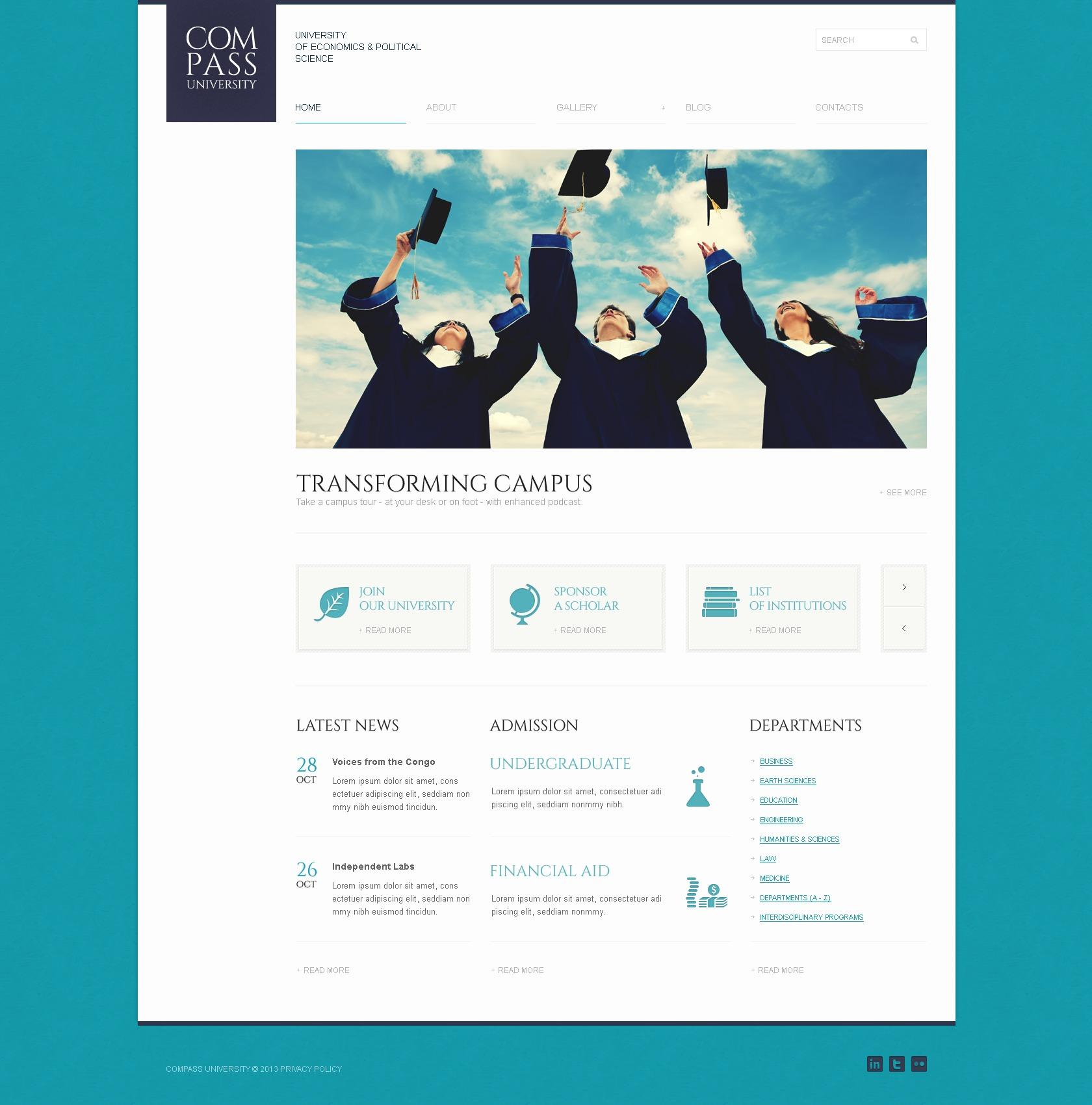 "Modello WordPress Responsive #42116 ""Solid University"" - screenshot"