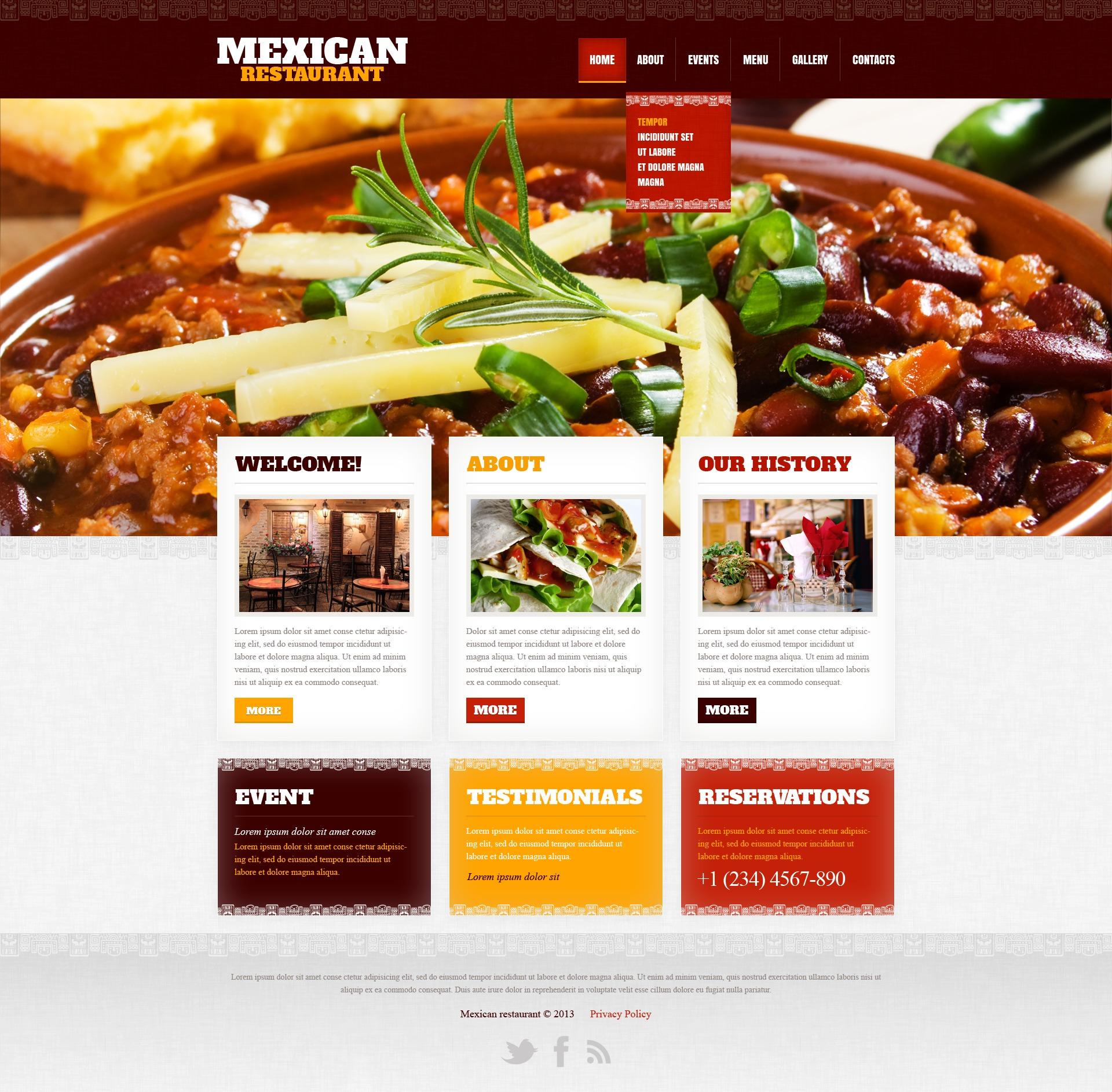 Plantilla Web #42181 para Sitio de Restaurantes mexicanos
