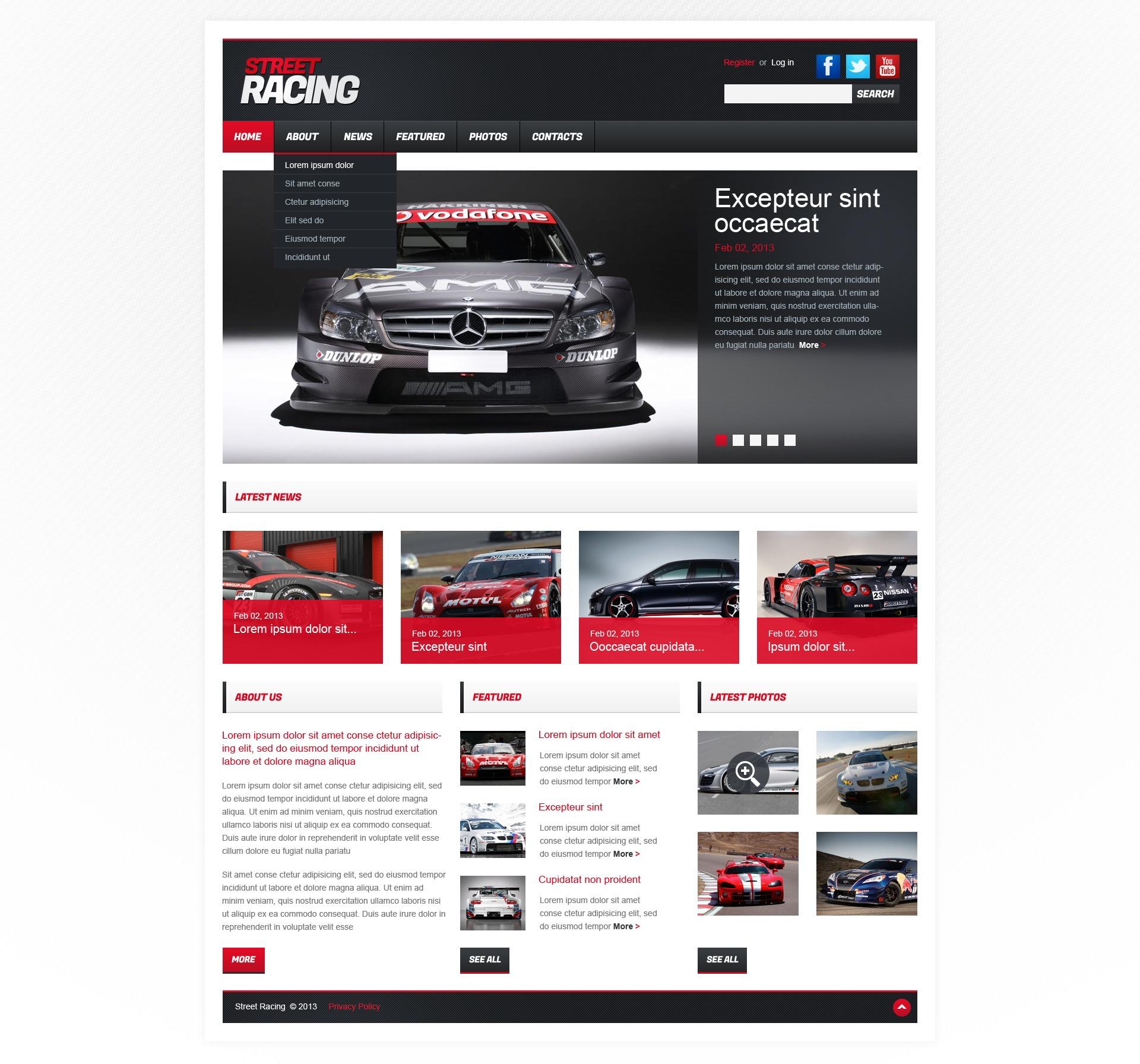 Responsywny szablon strony www #42121 na temat: samochód wyścigowy - zrzut ekranu