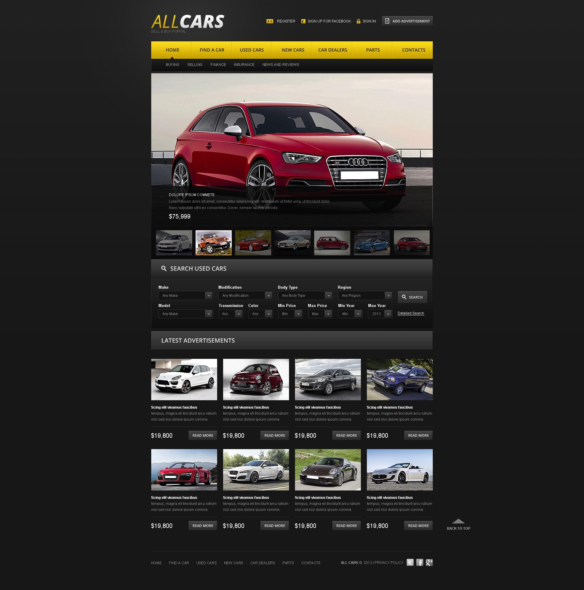 Tema Siti Web #42186 per Un Sito di Commerciante d'Auto