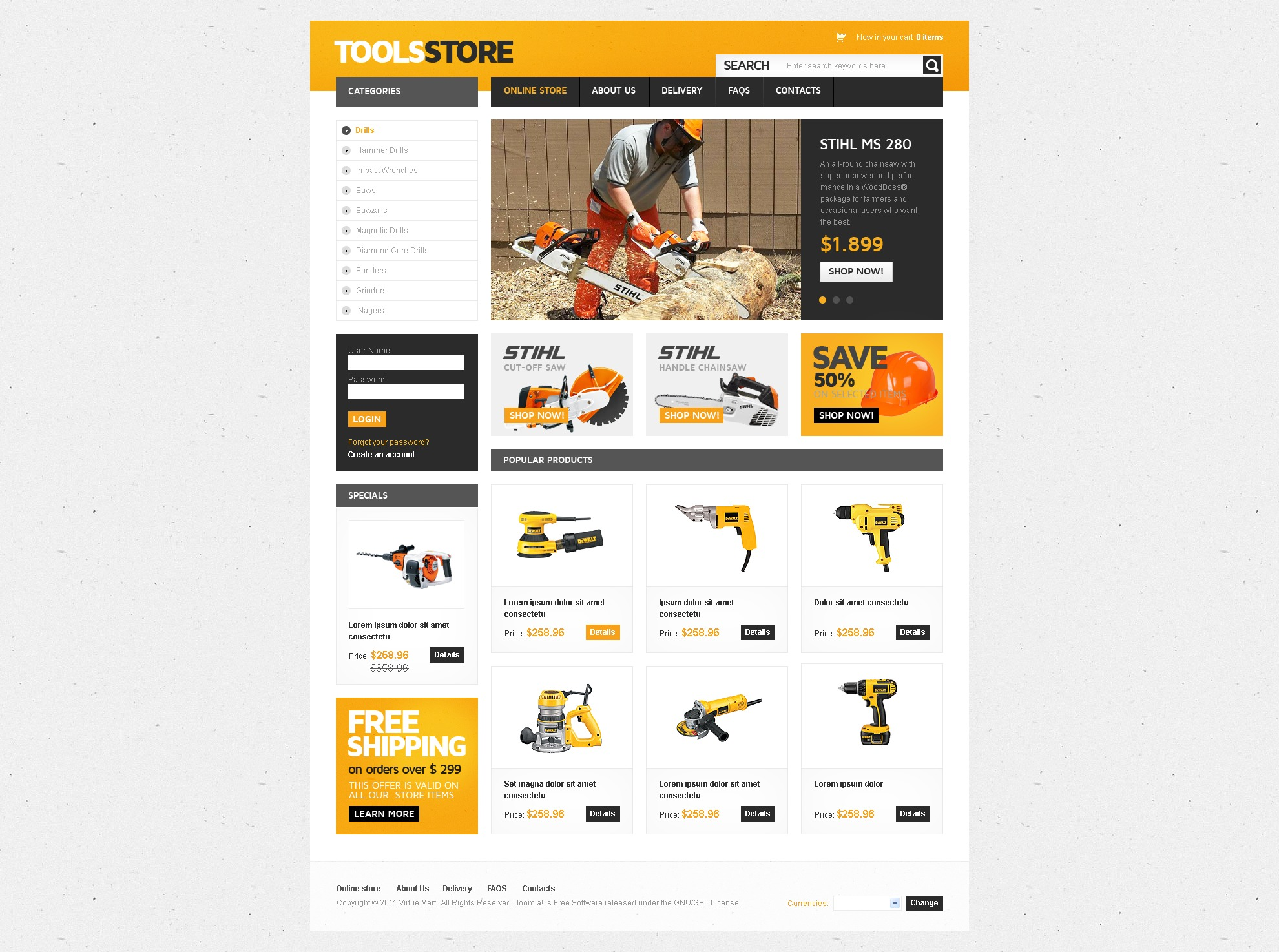 "Tema VirtueMart #42144 ""Tools Store"""