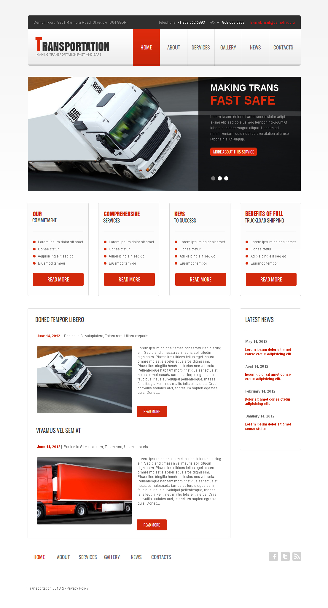 Transportation Moto Cms Html Template 42163